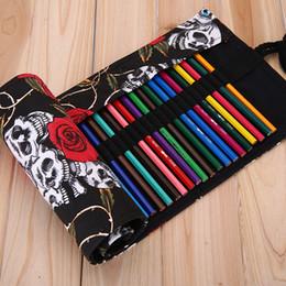 Wholesale Skull Rose Bag - Wholesale-Hot 36 48 72 Holes Rose Skull School Pencil Cases Escolar Estuche Box Stationery Cute Estojo Portable Canva Pen Roll Up Bags 1Pc
