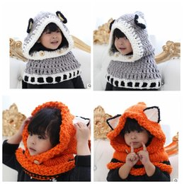 Wholesale neck beanie - Baby Kids Fox Hat Scarf Children Neck Warmer Wrap Beanie Crochet Collar Cartoon Windproof Fox Ear Hats Scarf KKA3452