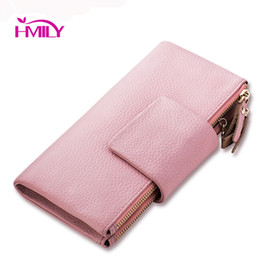 Wholesale Designer Case For Cell - Wholesale- HMILY Genuine Cow Leather Wallets for Women 2 Zipper Fashion Day Clutches Designer Purse Long Phone Case Soft Money Bag