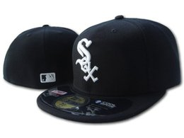 Wholesale Full Hats - Yjyb2b Hot Selling Men's On Field White Sox fitted hat Top Quality flat Brim embroiered Letter SOX Team logo fans baseball Hats full closed