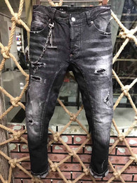 Wholesale Jeans Hip Hop Hombres - 2017 Hip-hop Brand denim dsq Jeans Mens dsq Denim Distressed Masculina jeans skinny hombre Slim Long Pants Rock Ripped Biker d2 Jeans 9152