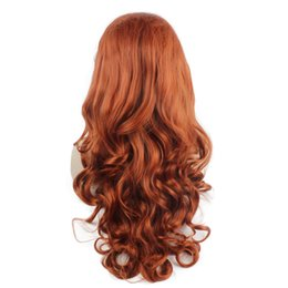 Wholesale Burgundy Long Half Wig - SF5 Long Burgundy Wine Red Half Hand Tied Natural Front Lace Wig Synthetic Wavy Heat Resistant Fiber Reddish Wig Natural Hairline