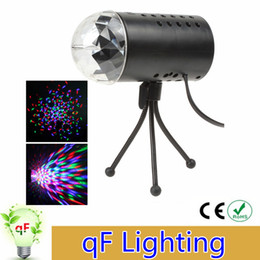 Wholesale 3w Green Laser - EU US Plug 3W LED RGB Stage Light Auto Rotating Crystal Laser disco lighting lamp DJ LED Bulb Party Dancing Lamp
