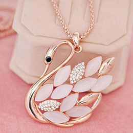 Wholesale Accesories Women Free Shipping - 2017 Hot Direct Selling crystal Necklaces Swan Fashion Accesories Long Necklace Pendant Fine Jewelry Women free shipping