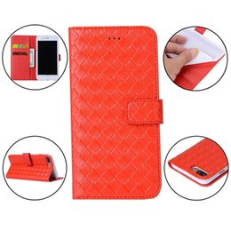 Wholesale Wholesale Weave Credit - Luxury Woven Knit Flip Wallet Leather Case For Iphone 7 Plus I7 Iphone7 Fashion ID Credit Cards Stand Pouch TPU Cell Phone Skin Cover 50pcs