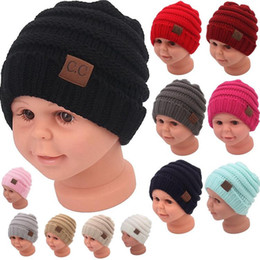 easter hats for babies 2018 - kids winter keep warm cc beanie Labeling hats Wool knit skull designer hat outdoor sports caps for baby children kid 2017 fashion