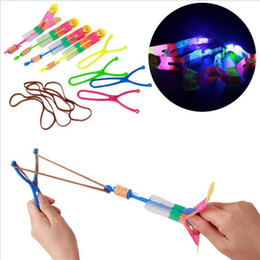 Wholesale Umbrella Lights Up - good quality LED Light Flash Flying Flash Rotating Flying Arrow Shoot Up Helicopter helicopter umbrella kids toys DHL free DDA2787 300pcs