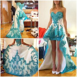 Wholesale Turquoise Satin Short Dresses - White And Turquoise High Low Beautiful Lace Appliques Prom Dresses 2016 Short Front Long Back Sexy Sweetheart Formal Party Dress