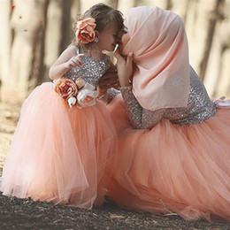Wholesale Top Beautiful Wedding Dresses - Beautiful Silver Sequin Top Peach Tulle Skirt Ball Gown Floor Length Flower Girl Dresses 2017 Matching Mother and Daughter Dresses