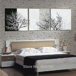 Wholesale Black White Tree Art - 3pcs lot Black White Tree Abstract Hand Painted Wall DECOR Art Oil Painting Canvas Art Home Decoration