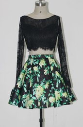 Wholesale Long Skirt Plus Size Patterns - ZQ068 Lace Floral Printed Two Piece Seniors Homecoming Dresses Long Sleeves Satin Flower Pattern Skirt Open Back floral print cocktail dres