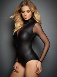 Wholesale Lingerie Leotards - Plus Size 2XL Women Sexy Lingerie Long Sleeve Transparent Leotard Dance Clubwear Nightwear Faux Leather Bodysuit