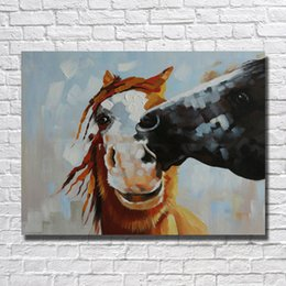 Wholesale High Quality Horse Oil Painting - High Quality Abstract Pictures on Canvas Home Decor Sitting Room Wall Pictures Modern Kiss Horse Oil Painting 1 Peices No framed