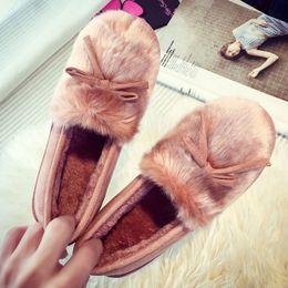Wholesale Leather Shoes For Woman Prices - SJJH Wholesale Price Flat Heel Winter Snow Pumps Warm Shoes Fashion Low Cost Pumps For Lady Rabbit Fur Shoes With Five Colors DZP002