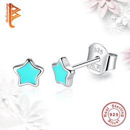 Wholesale Vintage Pink Earrings - BELAWANG 2 Colors 925 Sterling Silver Stud Earrings Blue&Pink Enamel Star Earrings for Women Vintage Jewelry Christmas Day Birthday Gift
