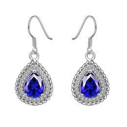 Wholesale Gold Heart Shape Earrings Jewelry - Sapphire water drop shaped earrings real white gold earrings women blue jewelry engagement wedding earrings