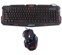 Wholesale Gaming Keyboard Mouse Combo - Keyboard mouse combo Backlit LED gaming led 3color fingerboard +Colorful gaming mouse breathing light 7 buttons