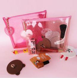 Wholesale Transparent Travel Storage Bag Wholesale - Transparent PVC Jelly Makeup Bag Cosmetic Bag Beauty Handsbag Waterproof Travel Make Up Organizer Storage Bag KKA3059