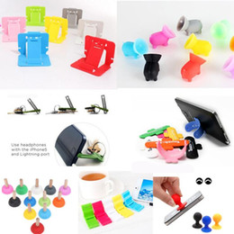 Wholesale Small Silicone Ball - Universal Octopus Ball Elephant Small Pigs Touch-U  Double-Sided Suction Holder Full silicone phone bracket with Card Slot Holder Stander