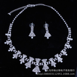 Wholesale Cheap Anchor Earrings - Rhinestone Bridal Jewelry Sets Necklace Earring Set Tiara Beads Rhinestone Wedding Bridal Pearl Jewelry Wedding Accessories Cheap In Stock