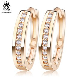 Wholesale Wholesale Jewelry Items - ORSA JEWELS New Trendy Champagne Gold-Color&Silver Color Cubic Zirconia Simple Item Female Earrings Hoop Jewelry for Women OME34