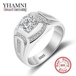 Wholesale Men Yellow Gold Wedding Ring - YHAMNI Brand Wedding Rings for Men 925 Sterling Silver Ring CZ Diamond Engagement Charm Man Jewelry Ring MJZ019