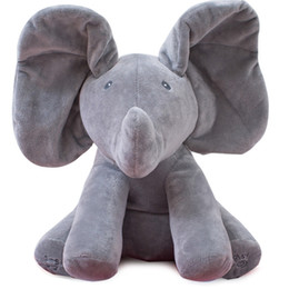 Wholesale Christmas Animals Play - Peek A Boo Elephant Stuffed Animals & Plush Elephant Doll, Play Music Elephant Educational Anti-stress Electric Toy For Baby