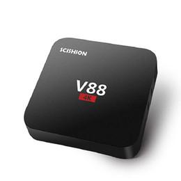Wholesale Mini 1g - Android TV Box Smart Mini PC 4K Media Player V88 Rockchip RK3229 Quad Core 1G 8G Wifi HDMI 2.0 4Kx2K 1080P 3D Home Movie KD Fully Loaded