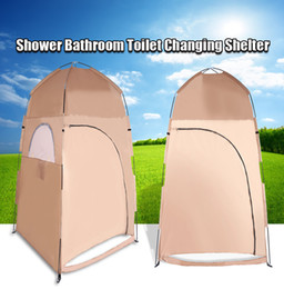 Wholesale Portable Toilet Outdoors - Wholesale- Portable Waterproof 1 Person Outdoor Hiking Camping Tent Single Tent Collapsible Shower Bathroom Toilet Changing Room Shelter
