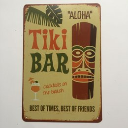 Wholesale Beach Bar Signs - Tiki Bar Cocktails on the Beach Retro Vintage Metal Tin sign poster for Man Cave Garage shabby chic wall sticker Cafe Bar home decor