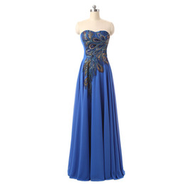 Wholesale Sweetheart Peacock Blue Prom Dress - 2017 Long Evening Dresses Sweetheart Peacock Appliques Blue Formal Prom Dress Evening Gowns Cheap Real Photo Special Occasion Dress
