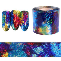 Canada 1 M Gradient Ciel Étoilé Nail Feuille Bleu Holographique Papier Stickers Décor Nail Art Autocollant Décoration Accessoires Offre