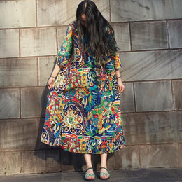 Wholesale Three Quarter Length Sleeve Plus - Autumn Dress Cotton Linen Plus Size Women Dress Floral Print Loose Waist Three Quarter Sleeve Long Dress O Neck Long Robe
