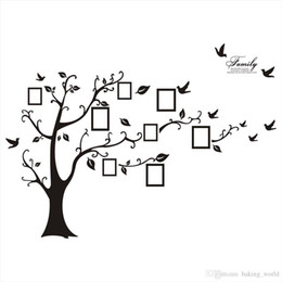 Wholesale Tree Mural Decals - Wholesale Free Shipping:Large 200*250Cm 79*99in Black 3D DIY Photo Tree PVC Wall Decals Adhesive Family Wall Stickers Mural Art Home Decor