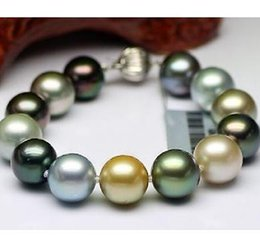 Wholesale South Sea Pearls Rings - Charming 10-11mm tahitian south seas multicolor pearl bracelet 7.5-8inch 925 silver