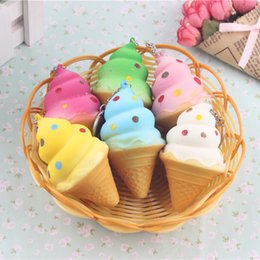 Wholesale Soft Toys Key Chain - 30PCS Lot New Squishy Ice Cream Cone Phone Straps Bread Scented Soft Key Chains Toys squeeze toy squishy Mobile Accessories Wholesale