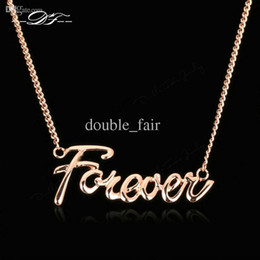 "Wholesale Initial Gold - ""Forever"" Lover Designer Necklaces & Pendants 18K Rose Gold Plated Fashion Brand Vintage Jewelry For Women Chains Accessiories DFN257"