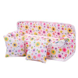 Wholesale Doll House Flowers - Mini Furniture Flower Sofa Couch +2 Cushions Doll House Kitchen Accessories Toys#57691