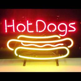 Nuevo diseño de perritos calientes hechos a mano, decorado con tubo de vidrio real, luz de neón, señal 17''x14 '' desde fabricantes