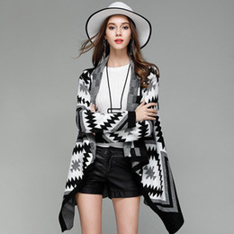 Wholesale thin sweaters for women loose - Autumn Cardigans Sweater For Women Casual Long Sleeve Open Stitch Tops Loose Jacket Coat Fashion Lady Sweaters Winter Black Outerwear