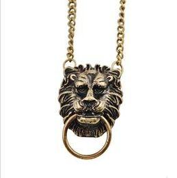 Wholesale Lion Head Necklace Wholesale - animal head face lion pendant necklace length about 46cm