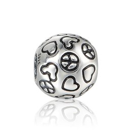 Wholesale Pandora Peace Charm - Peace love charms authentic S925 sterling silver fits for pandora style charm bracelets free shipping aleCH636H9