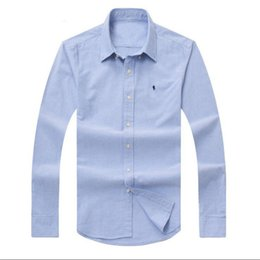 Wholesale Horse Cotton - Men's long-sleeve POLO shirt Autumn spring Dress shirt men's casual POLO small horse shirts fashion social shirt business long sleeve D15