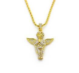 Wholesale Vintage Gold Rope Chains - Mens Vintage Angel Wing Pendant Box Chain and Rope Chain 18K Gold Plated Iced Out Pendant Necklace 24 Inch Long