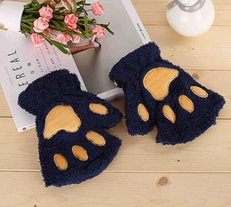 Wholesale Wholesale White Cotton Gloves - Halloween Christmas stage perform prop Cosplay cat bear Paw Claw Glove party favors Winter Cute High quality woman cartoon cat gloves