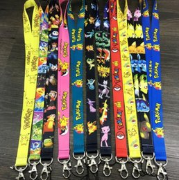 Wholesale Charms Holders - Poke Go All Ages Fashion Lanyard Keychain Pikachu ID Badge Holder Protector Mobile Phone Charms Straps High Quality Free Shipping