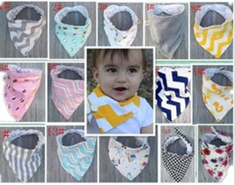 Wholesale Toddler Girls Scarves - Baby Cartoon Bibs Thickening Bibs Cotton Double Layer Bibs For Baby Boys Girls Feeding Cloths Animal Print Toddler Triangle Scarf Accessory