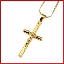 Wholesale Dancers Necklaces - High Quality 18K Gold Plated Jesus Cross Pendant Necklace Street dancer Hip Hop Style Rap Jewelry For Men Women Choker Necklace