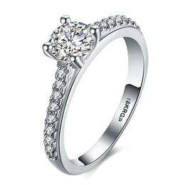 Deutschland 18KRGP Weißgold vergoldet Hochzeit CZ Diamant Schmuck Luxus bague trendy Bijoux Verlobungsringe für Frauen Zubehör Versorgung
