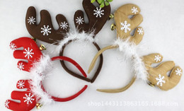 Wholesale Snow Headband Flower - Hot Sale Christmas Antlers Women Hair Headbands 2016 Red Antlers With Snow Flower Women Party Hair Accessories 77